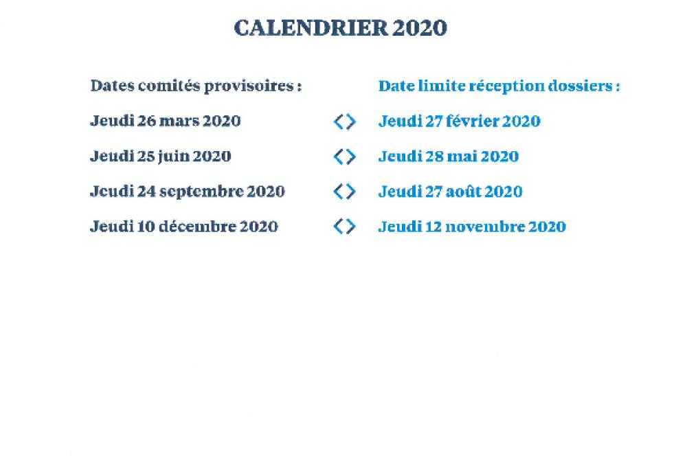 Calendrier des comités provisoires 2020