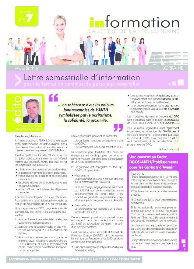 Lettre d'information ANFH Lorraine n°7