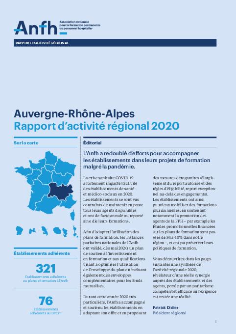 Rapport d'activité 2020 - Auvergne - Rhône - Alpes