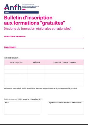 BULLETIN D INSCRIPTION AUX FORMATIONS GRATUITES