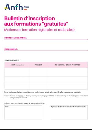 Bulletin d'inscription aux formations gratuites