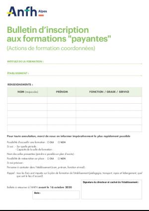 Bulletin d'inscription aux formations payantes