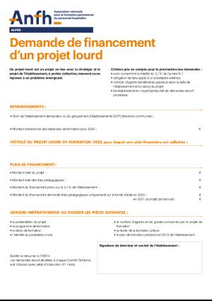 Bulletin demande de financement d'un projet lourd