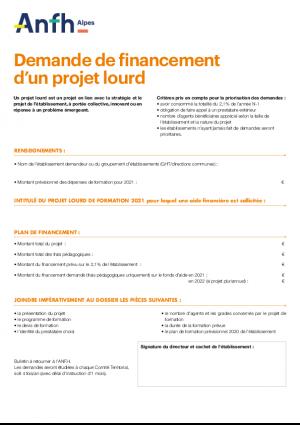 Demande de financement projet lourd