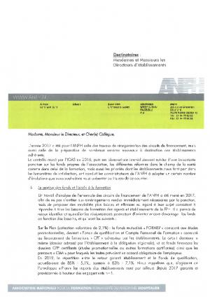 Courrier du Président ANFH aux établissements - avril 2018
