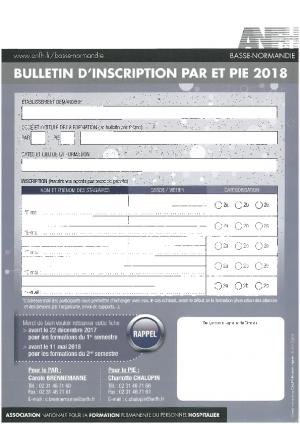 Bulletin d'inscription 2018
