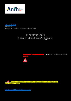 calendrier 2021 du Comité territorial Agents