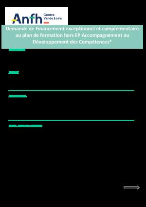 Demande de financement exceptionnelle complémentaire PLAN HORS EP
