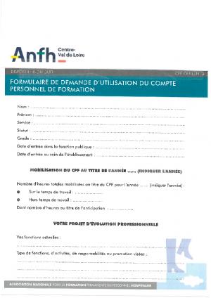 Demande utilisation du compte CPF