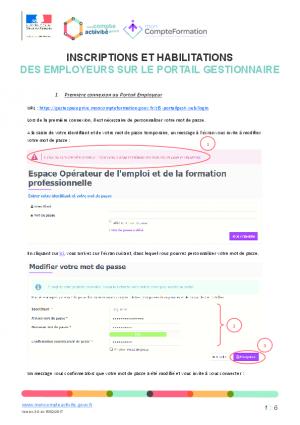 Notice Inscription et habilitation des employeurs à l'espace gestionnaires CPF
