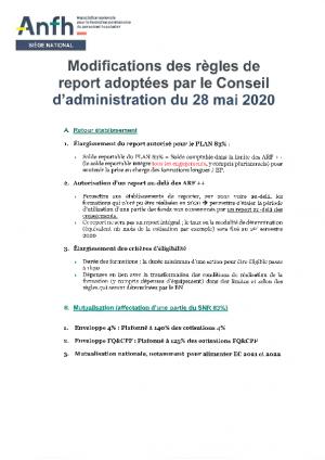 Modification des règles de report au 28/05/2020