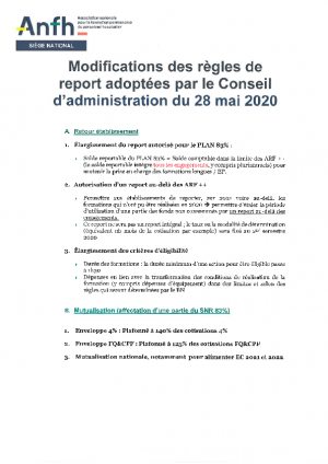 Modification des règles de report au 28/05/2020