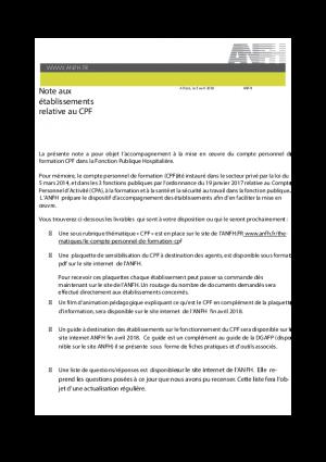 Note d'information CPF de l'ANFH aux établissements - avril 2018