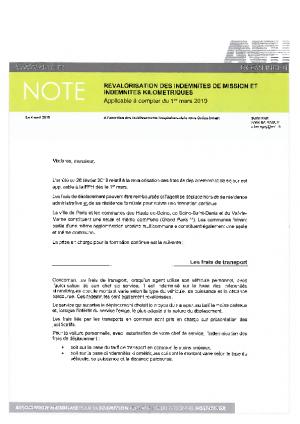 Note indemnites 2019