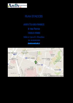 Plan d'accès ANFH IDF