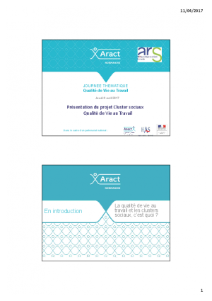 ANACT - ARACT - LE PROJET DE CLUSTER QVT ET SES ENSEIGNEMENTS