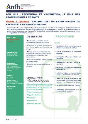 VACCINATION MODULE 1  : un enjeu majeur de prévention en santé publique