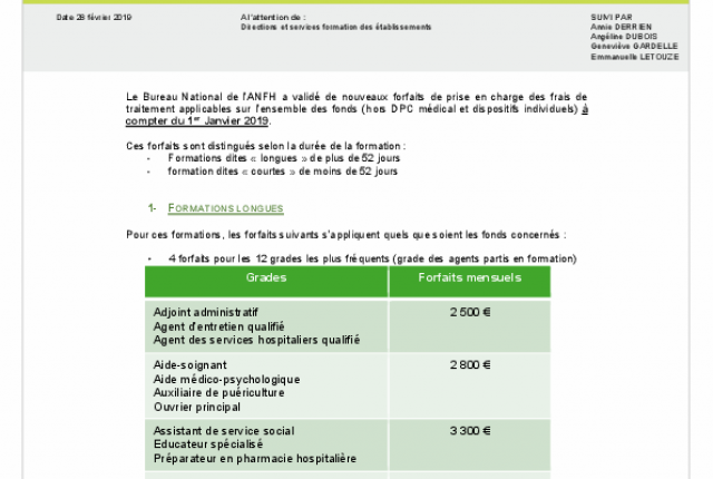 Actualisation des forfaits pour le remboursement des frais de traitement au 1er janvier 2019