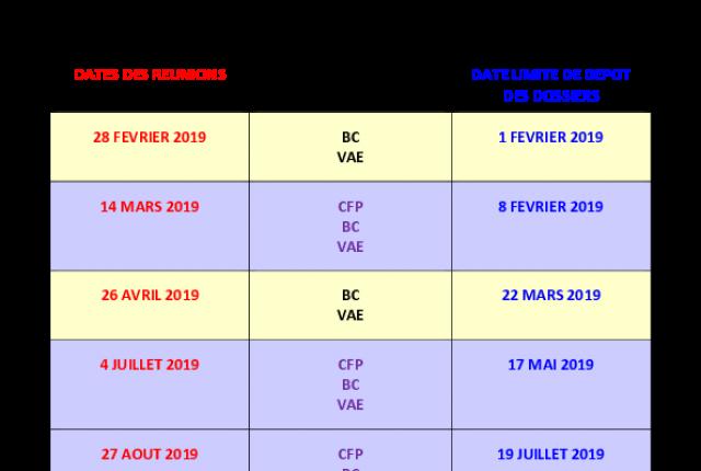 Calendrier 2019 des réunions du Comité Territorial