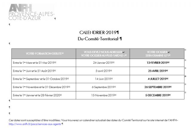 CALENDRIER DES COMMISSIONS DE FINANCEMENT DU COMITE TERRITORIAL