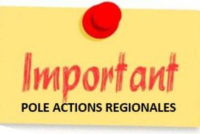 Nouvelle adresse mail du pôle Actions Régionales