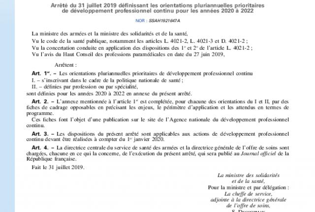 Parution des orientations pluriannuelles prioritaires de Développement Professionnel Continu 2020-2022