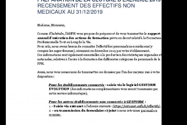 Préparation de la clôture d'exercice 2019 : recueil des effectifs non médicaux 2019