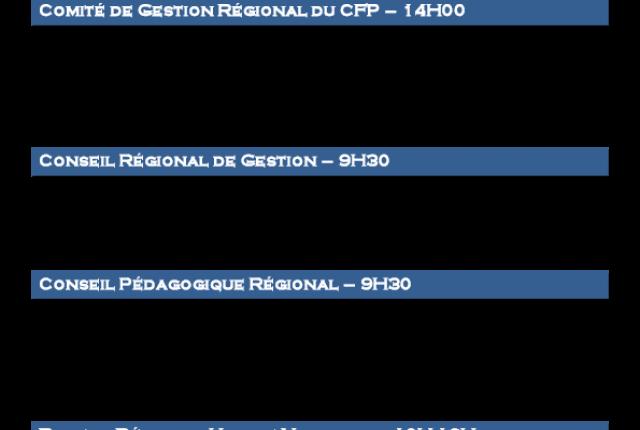 Calendrier  2018 - Réunions des Instances